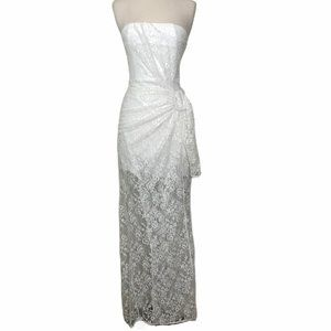 NWOT NBD Revolve Strapless White Lace Gown Sz. S
